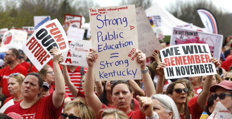 "FRANKFORT, KY-APRIL 13: Kentucky Public school teachers rally for a ""day of action"" at the Kentucky State Capitol to try to pressure legislators to override Kentucky Governor Matt Bevin's recent veto of the state's tax and budget bills April 13, 2018 in Frankfort, Kentucky. The teachers also oppose a controversial pension reform bill which Gov. Bevin signed into law. (Photo by Bill Pugliano/Getty Images)"