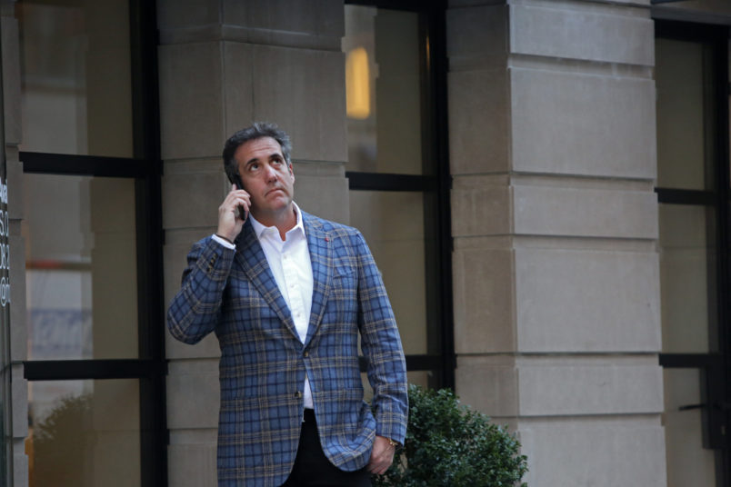 NEW YORK, NY - APRIL 13: Michael Cohen, President Donald Trump's attorney, takes a phone call near the Loews Regency hotel on Park Ave on April 13, 2018 in New York City. Following FBI raids on his home, office and hotel room, the Department of Justice announced that they are placing him under criminal investigation. (Photo by Yana Paskova/Getty Images)