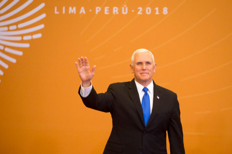 LIMA, PERU - APRIL 14:Vice President of USA, Mike Pence  during Day 2 of the VIII Summit of The Americas on April 14, 2018 in Lima, Peru. (Photo by Manuel Medir/Getty Images)