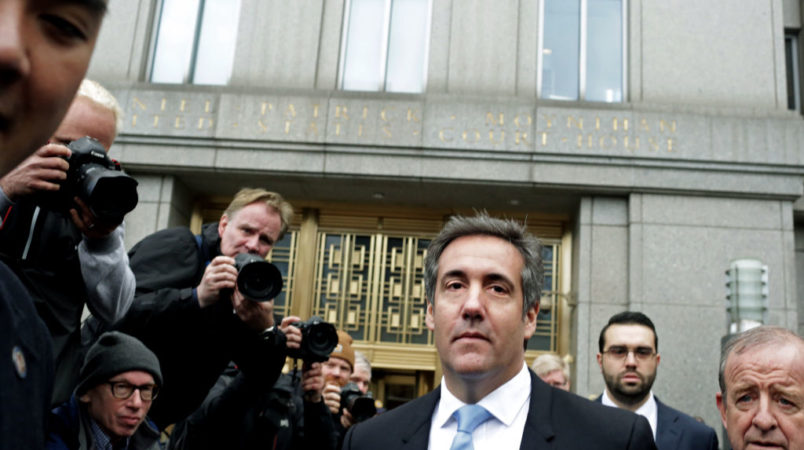 NEW YORK, NY - APRIL 16: Michael Cohen leaves Federal Court after his hearing on the FBI raid of his hotel room and office on April 16, 2018 in New York City. (Photo by Yana Paskova/Getty Images)