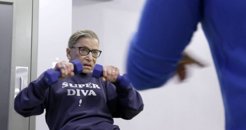 """This image released by Magnolia Pictures shows U.S. Supreme Court justice Ruth Bader Ginsberg in a scene from """"RBG."""" (Magnolia Pictures via AP)"""
