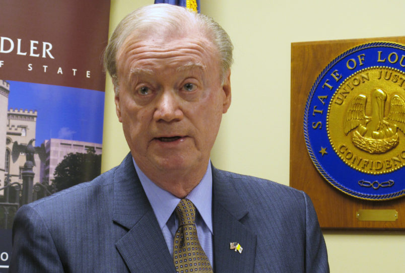 FILE-In this Wednesday, March 14, 2018 file photo, Louisiana Secretary of State Tom Schedler, accused in a lawsuit of sexually harassing one of his employees, speaks at a press conference, in Baton Rouge, La. Schedler, is leaving his elected position May 8, 2018, as calls for his resignation have increased amid allegations that the state elections chief sexually harassed one of his employees. (AP Photo/Melinda Deslatte)