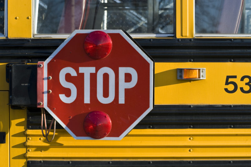 UNITED STATES - 2008/10/27: School bus with retracting safety stop sign. (Photo by John Greim/LightRocket via Getty Images)