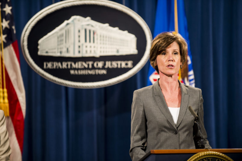 WASHINGTON, DC - June 28:  Deputy Attorney General Sally Q. Yates speaks during a press conference at the Department of Justice on June 28, 2016 in Washington, DC. Volkswagen has agreed to over $15 billion in a settlement over emissions cheating on its diesel vehicles. (Photo by Pete Marovich/Getty Images)