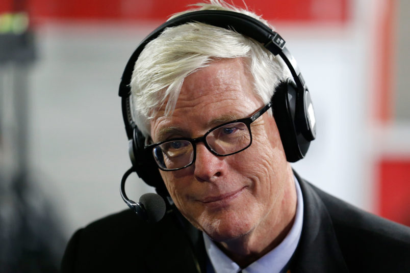 """CLEVELAND, OH - JULY 20: Hugh Hewitt talks about the 2016 presidential race withTed Koppel and Jonathan Alter on his show, """"Alter Family Politics"""" at Quicken Loans Arena on July 20, 2016 in Cleveland, Ohio. (Photo by Kirk Irwin/Getty Images for SiriusXM) *** Local Caption *** Hugh Hewitt"""