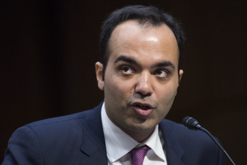 UNITED STATES - FEBRUARY 14: Rohit Chopra, nominee to serve as a Federal Trade Commissioner, testifies during a Senate Commerce, Science, and Transportation Committee confirmation hearing in Hart Building on February 14, 2018. (Photo By Tom Williams/CQ Roll Call)