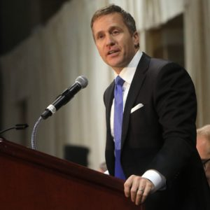 Gov. Eric Greitens delivers the keynote address at the St. Louis Area Police Chiefs Association 27th Annual Police Officer Memorial Prayer Breakfast on April 25, 2018, at the St. Charles Convention Center. (Laurie Skrivan/St. Louis Post-Dispatch/TNS)
