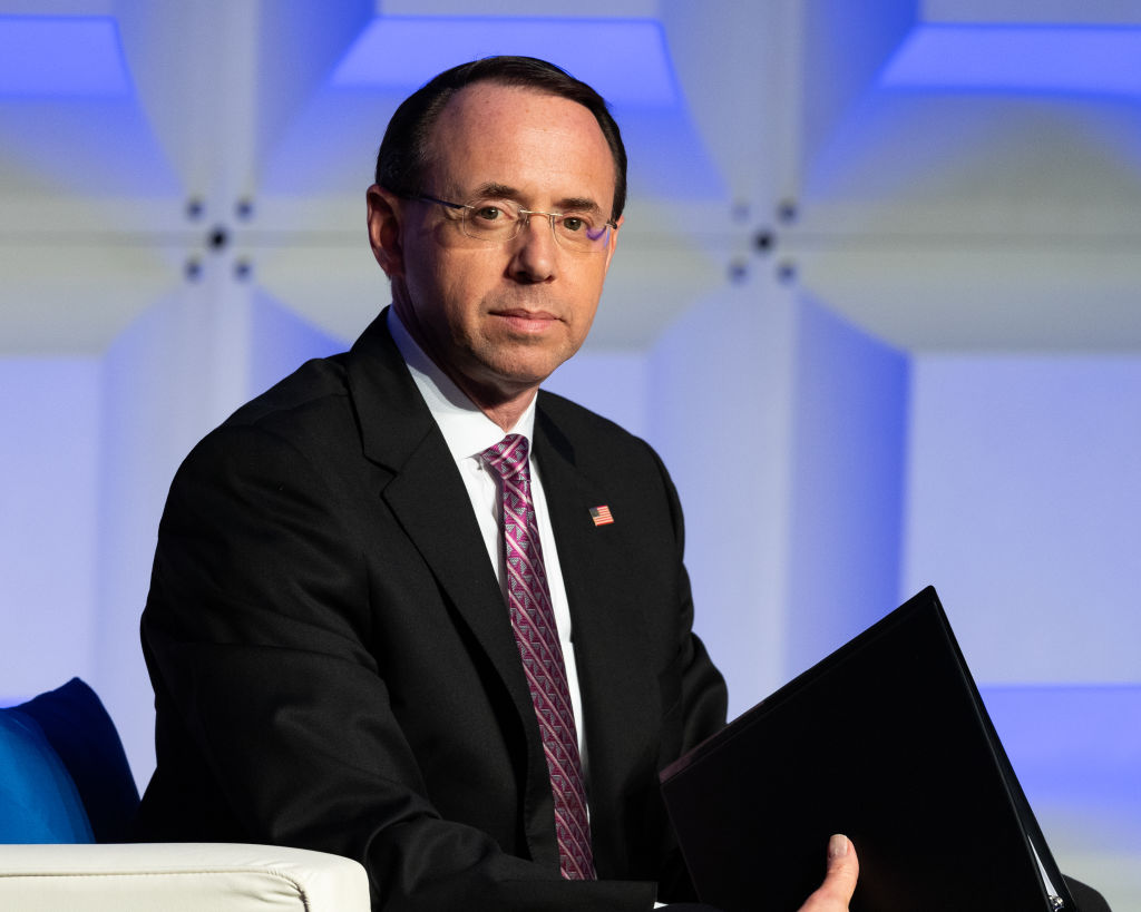WASHINGTON, DC, UNITED STATES - 2018/05/06: Rod Rosenstein, Deputy Attorney General, U.S. Department of Justice, at the Anti-Defamation League (ADL) National Leadership Summit in Washington, DC. (Photo by Michael Brochstein/SOPA Images/LightRocket via Getty Images)