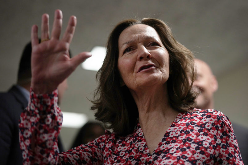 WASHINGTON, DC - MAY 07:  CIA nominee Gina Haspel waves as he arrives at a meeting with U.S. Sen. Joe Manchin (D-WV) May 7, 2018 on Capitol Hill in Washington, DC. Haspel will attend her confirmation hearing before Senate Intelligence Committee on Wednesday.  (Photo by Alex Wong/Getty Images)
