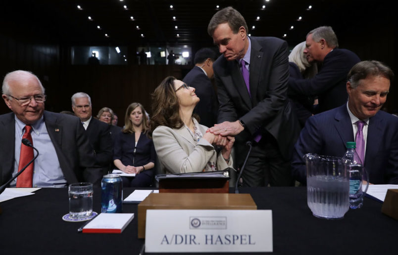 Central Intelligence Agency Deputy Director Gina Haspel is sworn in before the Senate Intelligence Committee during her confirmation hearing to become the next CIA director in the Hart Senate Office Building May 9, 2018 in Washington, DC. If confirmed, Haspel would be the first woman to lead the nationÕs biggest spy agency. Haspel ran a secret Òblack siteÓ CIA prison in Thailand after September 11, 2001, where detainees were subjected to brutal interrogation techniques and she was later involved in approving the destruction of videotapes of interrogation sessions at that prison.