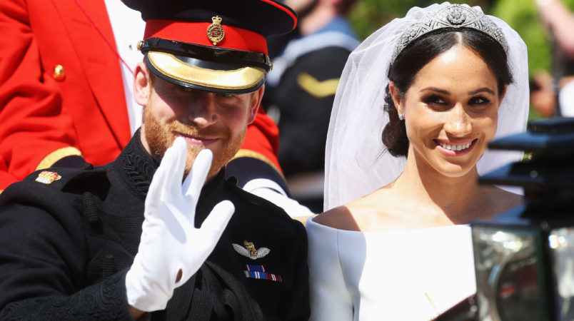 arrives at the wedding of Prince Harry to Ms Meghan Markle at St George's Chapel, Windsor Castle on May 19, 2018 in Windsor, England.
