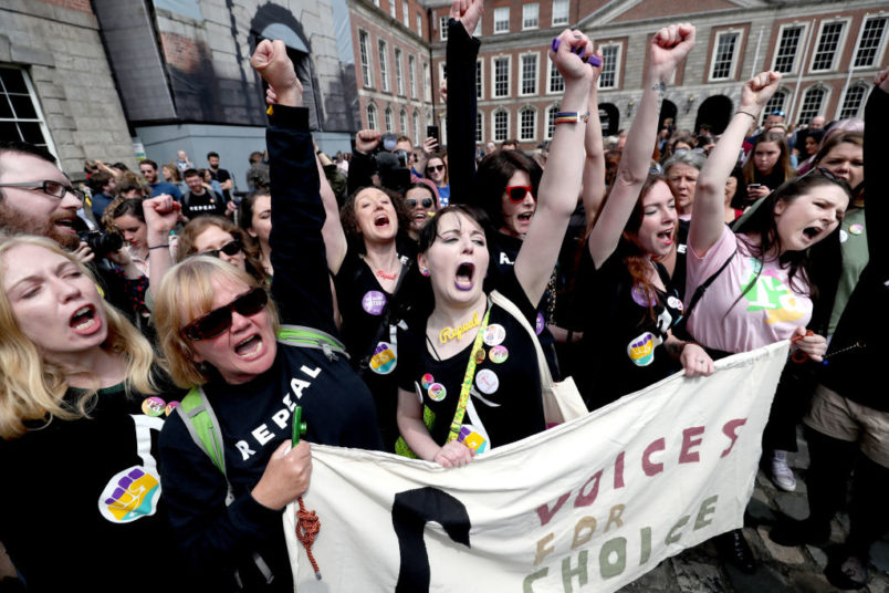 Members of the quartet Voices For Appeal wait at Dublin Castle for the result of the referendum on the 8th Amendment of the Irish Constitution which prohibits abortions unless a mother's life is in danger. PRESS ASSOCIATION Photo. Picture date: Saturday May 26, 2018. See PA story IRISH Abortion. Photo credit should read: Niall Carson/PA Wire
