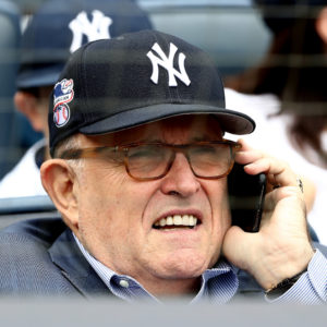 NEW YORK, NY - MAY 28:  Rudy Giuliani attends the game between the New York Yankees and the Houston Astros at Yankee Stadium on May 28, 2018 in the Bronx borough of New York City.MLB players across the league are wearing special uniforms to commemorate Memorial Day.  (Photo by Elsa/Getty Images)