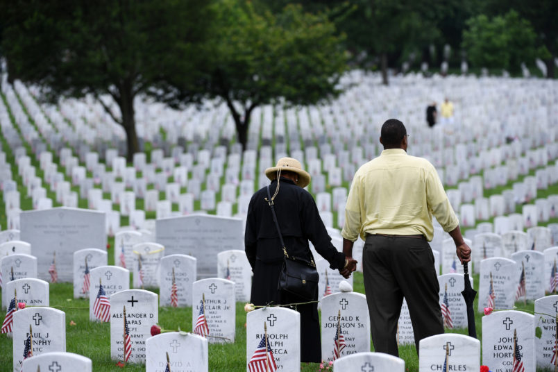 ARLINGTON, VA - MAY 28: People pay their respects on Memorial Day at Arlington National Cemetery on Monday May 28, 2018 in Arlington, VA. (Photo by Matt McClain/The Washington Post)