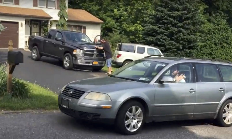 Thirty-year-old Michael Rotondo leaves his parents' house in Camillus, N.Y., around 9:30 a.m. Friday, June 1, 2018, 2 1/2 hours before a court-ordered eviction deadline. Douglass Dowty | ddowty@syracuse.com