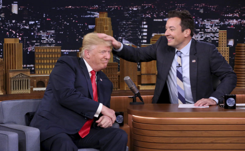THE TONIGHT SHOW STARRING JIMMY FALLON -- Episode 0534 -- Pictured: (l-r) Donald Trump during an interview with host Jimmy Fallon on September 15, 2016 -- (Photo by: Andrew Lipovsky/NBC)