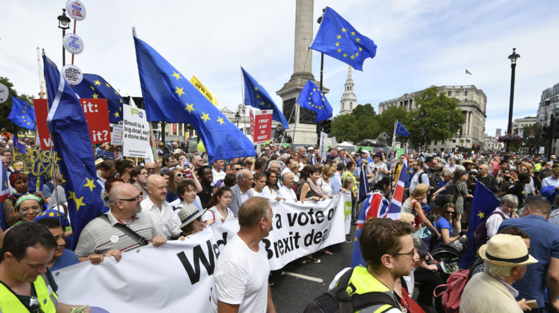 Vince Cable MP, Pro-EU campaigner Gina Miller, Tony Robinson and Caroline Lucas MP join with crowds taking part in the People's Vote march for a second EU referendum at Trafalgar Square in central London. PRESS ASSOCIATION Photo. Picture date: Saturday June 23, 2018. See PA story POLITICS Brexit. Photo credit should read: John Stillwell/PA Wire