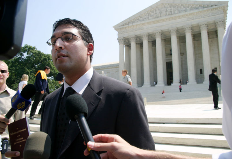 Neal K. Katyal, attorney for Guantanamo Bay detainee Salim Ahmed Hamdan, speaks to reporters on the steps of the Supreme Court after the Court ruled in his favor, 5-3, Thursday June 29, 2006, in Washington, D.C. The ruling overturned a federal appeals decision, which upheld President Bush's right to try Guantanamo detainees before military trials. (Mauricio Rubio/MCT)