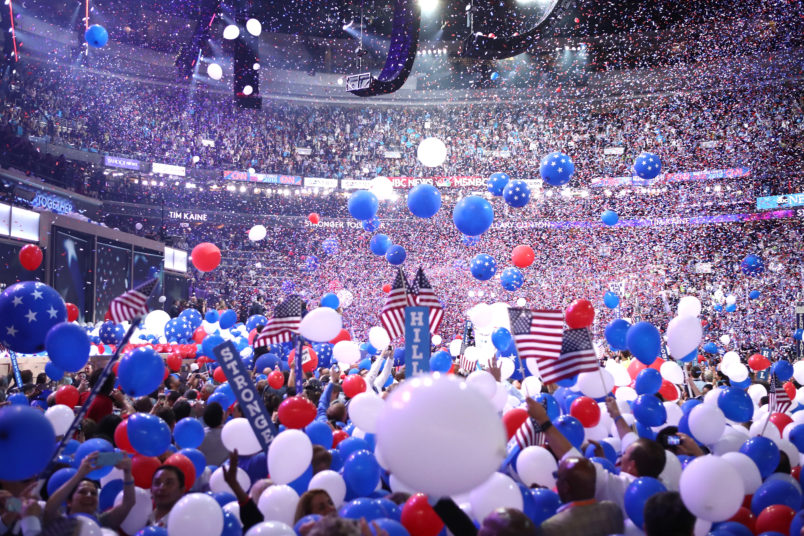 PHILADELPHIA, PA - JULY 28: on the fourth day of the Democratic National Convention at the Wells Fargo Center, July 28, 2016 in Philadelphia, Pennsylvania. Democratic presidential candidate Hillary Clinton received the number of votes needed to secure the party's nomination. An estimated 50,000 people are expected in Philadelphia, including hundreds of protesters and members of the media. The four-day Democratic National Convention kicked off July 25. (Photo by Jessica Kourkounis/Getty Images)