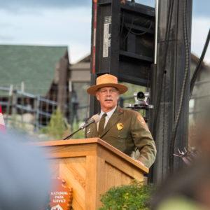Yellowstone National Park Superintendent Dan Wenk speaks at the National Park Service centennial celebration in Gardiner, Montana.