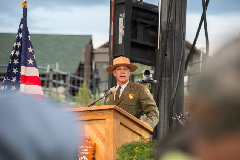 Yellowstone National Park Superintendent Dan Wenk speaks at the National Park Service centennial celebration in Gardiner, Montana.