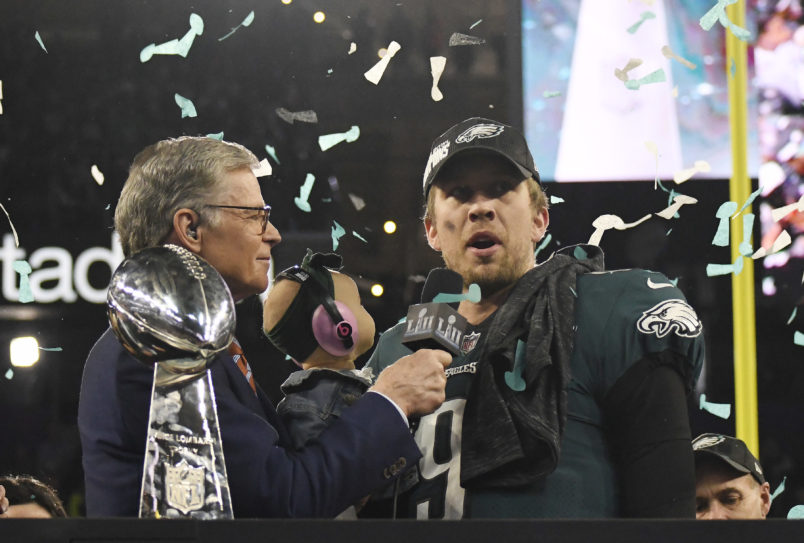 MINNEAPOLIS, MN - FEBRUARY 04: Nick Foles #9 of the Philadelphia Eagles talks with commentator Dan Patrick after the Eagles defeated the New England Patriots in Super Bowl LII at U.S. Bank Stadium on February 4, 2018 in Minneapolis, Minnesota. The Eagles defeated the Patriots 41-33. (Photo by Focus on Sport/Getty Images) *** Local Caption *** Nick Foles; Dan Patrick