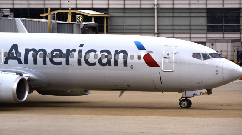 WASHINGTON, D.C. - APRIL 24, 2018:  An American Airlines Boeing 737 passenger plane taxis from a gate to the runway at Ronald Reagan Washington National Airport in Washington, D.C. (Photo by Robert Alexander/Getty Images)