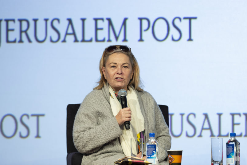 MARRIOTT MARQUIS HOTEL, NEW YORK, UNITED STATES - 2018/04/29: Roseanne Barr interviewed by Dana Weiss during 7th Annual Jerusalem Post Conference at Marriott Marquis Hotel. (Photo by Lev Radin/Pacific Press/LightRocket via Getty Images)