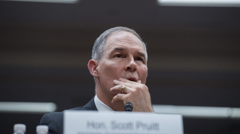 UNITED STATES - MAY 16: Environmental Protection Agency Administrator Scott Pruitt testifies during a Senate Appropriations Interior, Environment, and Related Agencies Subcommittee hearing in Dirksen Building on the proposed FY2019 budget for the EPA on May 16, 2018. (Photo By Tom Williams/CQ Roll Call)