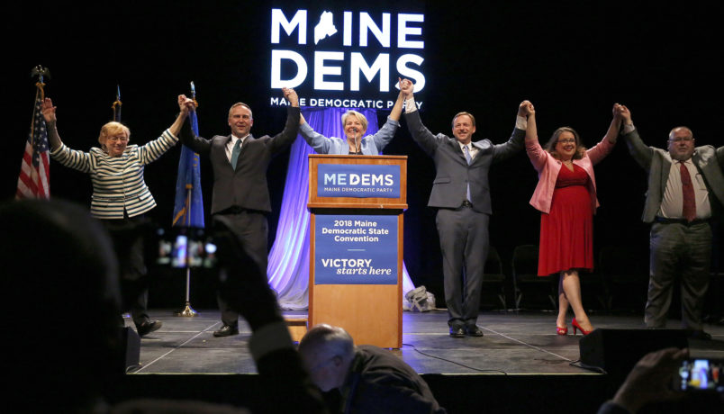 LEWISTON, ME - MAY 19: Six of seven Maine Democratic gubenatorial candidates share the stage Saturday at the biannual Democratic state convention in Lewiston on Saturday. From left: Janet Mills, Adam Cote, Betsy Sweet, Mark Eves, Diane Russell and Mark Dion. Donna Dion was not in attendance. (Staff photo by Ben McCanna/Staff Photographer)