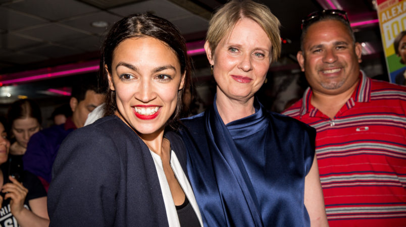 NEW YORK, NY - JUNE 26: Progressive challenger Alexandria Ocasio-Cortez is joined by New York gubenatorial candidate Cynthia Nixon at her victory party in the Bronx after upsetting incumbent Democratic Representative Joseph Crowly on June 26, 2018 in New York City. (Photo by Scott Heins/Getty Images)
