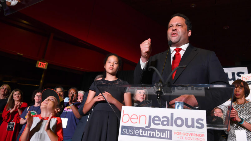 BALTIMORE, MD - JUNE 26:Ben Jealous wins the Democratic primary for Maryland Governor and addresses the crowd gathered at the Reginald F. Lewis Museum of Maryland African-American History & Culture June 26, 2018 in Baltimore, MD. Jealous is the former National President and CEO of the NAACP. (Photo by Katherine Frey/The Washington Post)