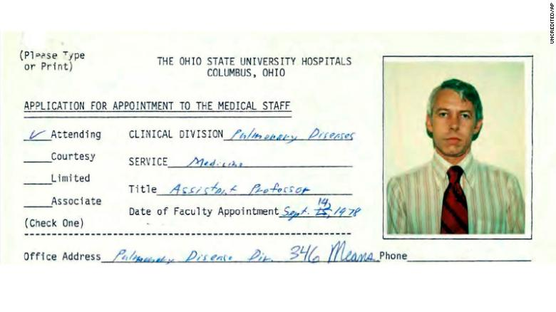This file photo shows a 1978 employment application information for Dr. Richard Strauss, from Ohio State University personnel files reviewed by The Associated Press. Strauss, who died in 2005, has been accused of sexual misconduct by former college student athletes. Ohio State says the firm conducting an independent investigation also is reviewing whether Strauss examined high school students. (Ohio State University via AP, File)