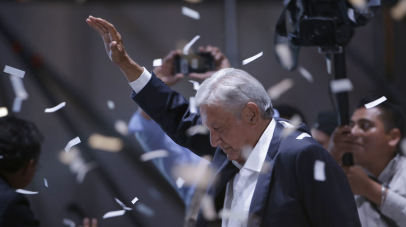 Presidential candidate Andres Manuel Lopez Obrador, of the MORENA party, at the zocalo in Mexico City,, Sunday, July 1, 2018. (AP Photo/Moises Castillo)