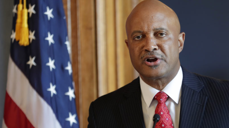 Indiana Attorney General Curtis Hill speaks during a press conference at the Statehouse in Indianapolis Monday, July 9, 2018, about calls for him to resign amid allegations that he inappropriately touched a state lawmaker and several other women.   (AP Photo/Michael Conroy)