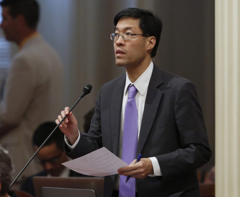 State Sen. Richard Pan, D-Elk Grove, urged lawmakers to approve his measure that would ban smoking within 250 feet of youth sporting events, Thursday, May 26, 2016, in Sacramento, Calif. The bill, SB977, proposed by 8th grade students at an Elk Grove school, was approved by a 32-5 vote and sent to the Assembly.(AP Photo/Rich Pedroncelli)