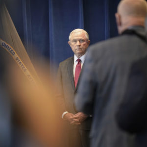 PORTLAND, ME - JULY 13: U.S. Attorney General Jeff Sessions speaks to local law enforcement officers at the United States Attorney's Office in Portland on Friday, July 13, 2018. (Staff photo by Gregory Rec/Staff Photographer)