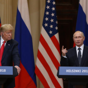 HELSINKI, FINLAND - JULY,16 (RUSSIA OUT) U.S.President Donald Trump (L) and Russian President Vladimir Putin (R) attend during their joint press conference in Helsinki, Finland, July,16,2018. Russian and U.S. Presidents have arrived to Helsinki for the summit. (Photo by Mikhail Svetlov/Getty Images)