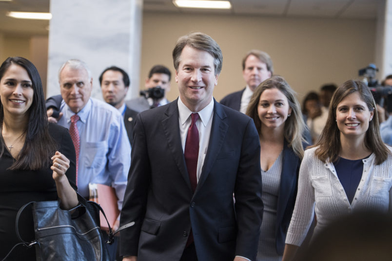 UNITED STATES - JULY 19: Supreme Court nominee Brett Kavanaugh, makes his way to a meeting with Sen. Dean Heller, R-Nev., in Hart Building on July 19, 2018. (Photo By Tom Williams/CQ Roll Call)