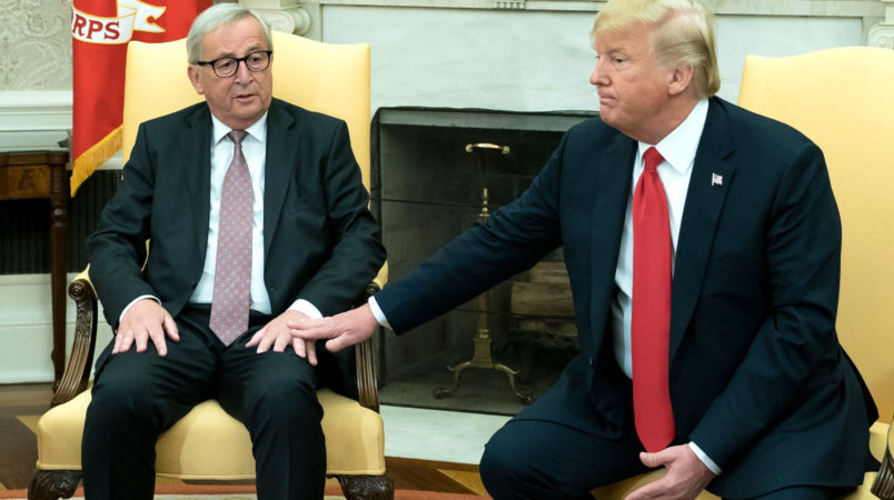 U.S. President Donald Trump meets with President of the European Commission Jean Claude Juncker in the Oval Office at the White House in Washington