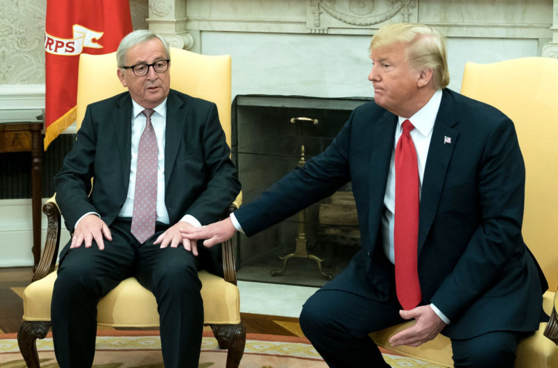 U.S. President Donald Trump meets with President of the European Commission Jean-Claude Juncker, in the Oval Office at the White House in Washington, D.C.on July 25, 2018. Photo by Kevin Dietsch/UPI