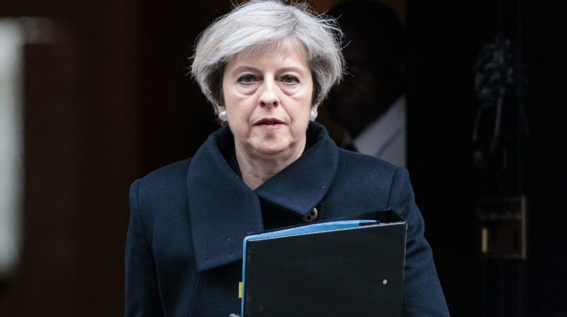 """Prime Minister Theresa May leaves Downing Street on March 23, 2017 in London, England. The British Prime Minister Theresa May spoke last night after a terrorist attack took place in Westminster, saying Parliament would meet as normal today and """"We will come together as normal"""".  PC Keith Palmer and three others lost their lives in the attack and the perpetrator was shot dead by police. *** Local Caption *** Theresa May"""