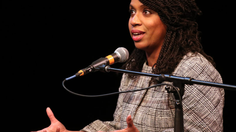 Boston MA 4/3/18 Councilor Ayanna Pressley speaking at a congressional forum in the Greene Theater at Emerson College. (photo by Matthew J. Lee/Globe staff)topic: 05capuanopressley(2)reporter: