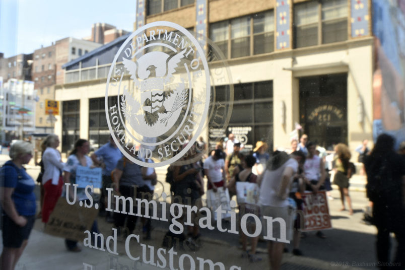 Group of protestors rallies at a local Dept of Homeland Security Immigration Field Office, in Philadelphia, PA, on June 30, 2018. Thousands participate in a rally earlier to protest the Trump's administration immigration policies and similar events are held around the nation. (Photo by Bastiaan Slabbers/NurPhoto)