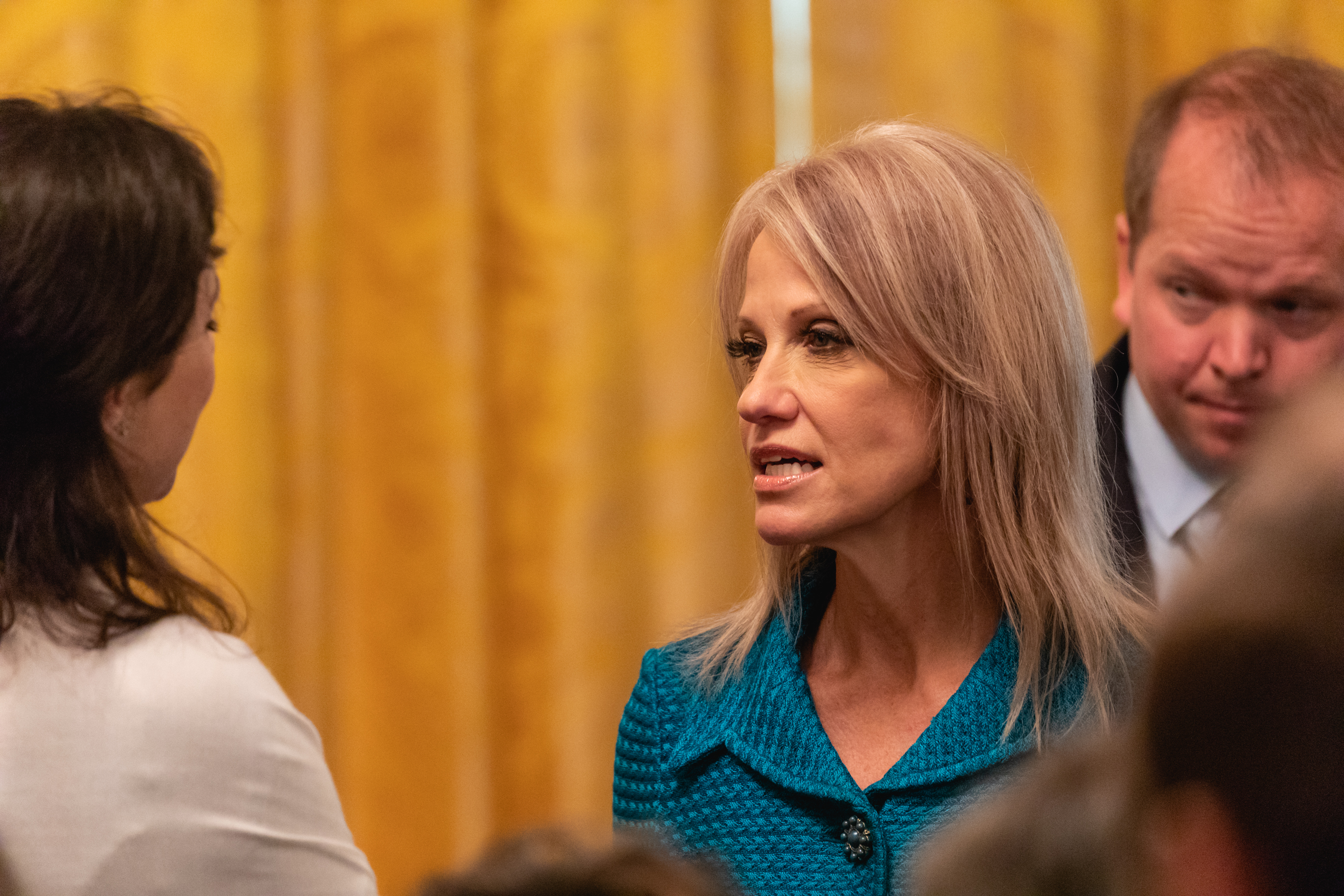 Counselor to the President Kellyanne Conway (r), attends President Trump's event celebrating the Republican tax cut plan in the East Room of the White House in Washington, D.C., on Friday, June 29, 2018. (Photo by Cheriss May/NurPhoto)