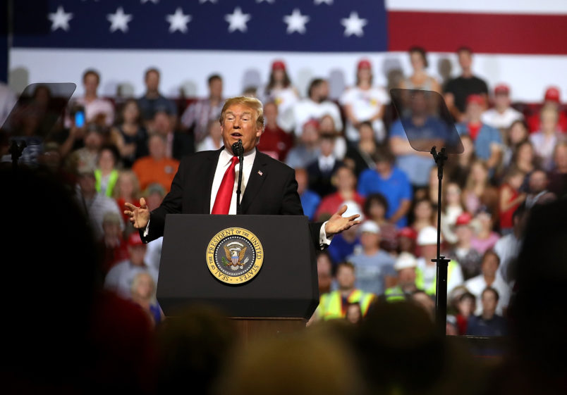 U.S. president Donald Trump greets supporters during a campaign rally at Four Seasons Arena on July 5, 2018 in Great Falls, Montana. President Trump held a campaign style 'Make America Great Again' rally in Great Falls, Montana with thousands in attendance.