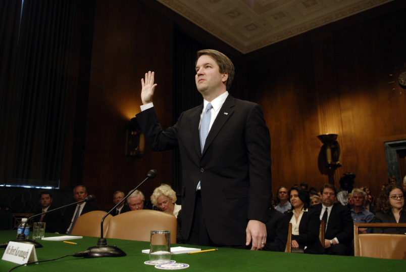 Brett Kavanaugh is sowrn-in at a Senate Judiciary Committee hearing on his nomination to be U. S. Circuit Judge for the Ninth Circuit.
