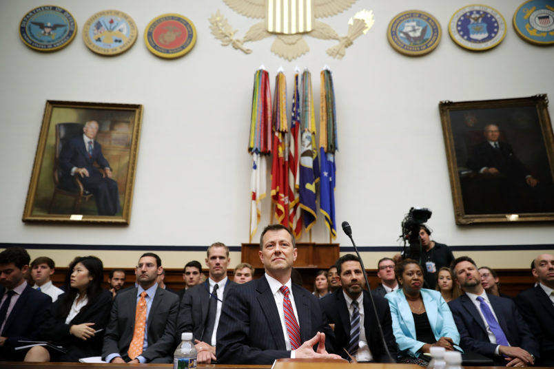 Deputy Assistant FBI Director Peter Strzok testifies before a joint committee hearing of the House Judiciary and Oversight and Government Reform committees in the Rayburn House Office Building on Capitol Hill July 12, 2018 in Washington, DC. While involved in the probe into Hillary ClintonÕs use of a private email server in 2016, Strzok exchanged text messages with FBI attorney Lisa Page that were critical of Trump. After learning about the messages, Mueller removed Strzok from his investigation into whether the Trump campaign colluded with Russia to win the 2016 presidential election.