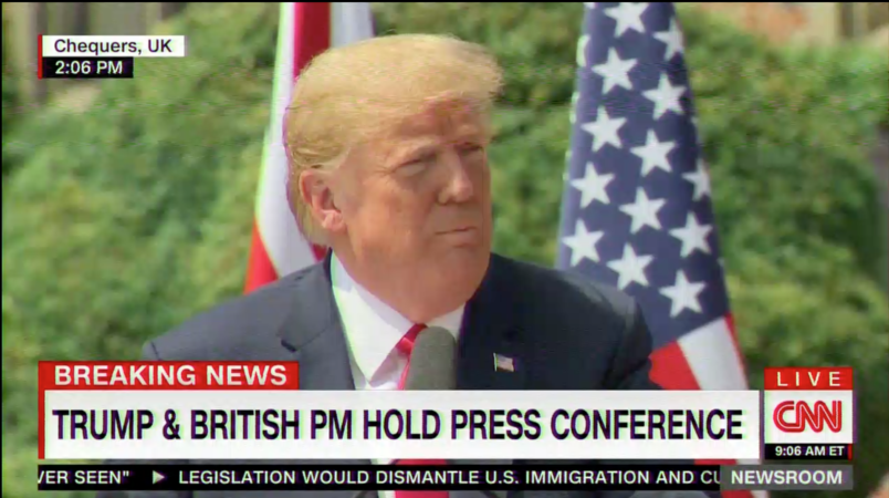Trump disses 'fake news' CNN in joint press conference with May