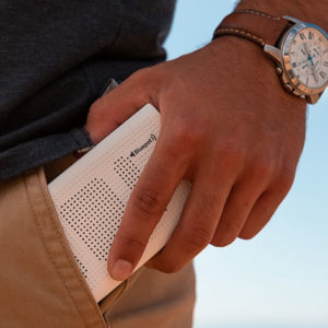 The Bluepot Bluetooth Speaker and Power Bank blasts sound that rivals high-end speakers while it charges up your phone.